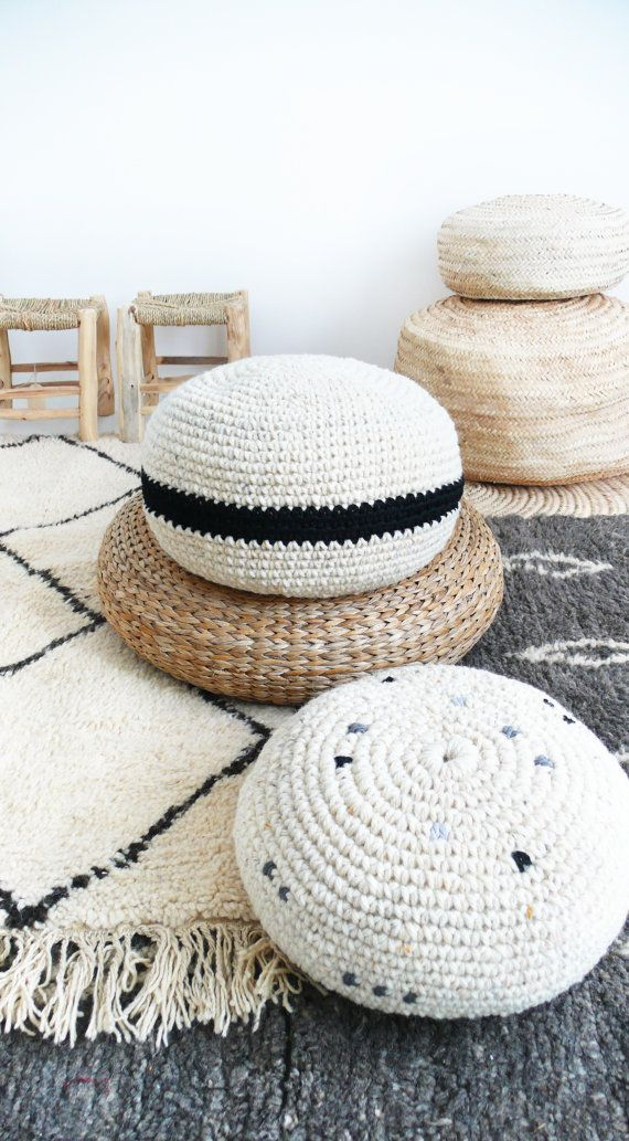 Crochet pouf thick wool - Natural undyed and black stripe | Wohnen ...