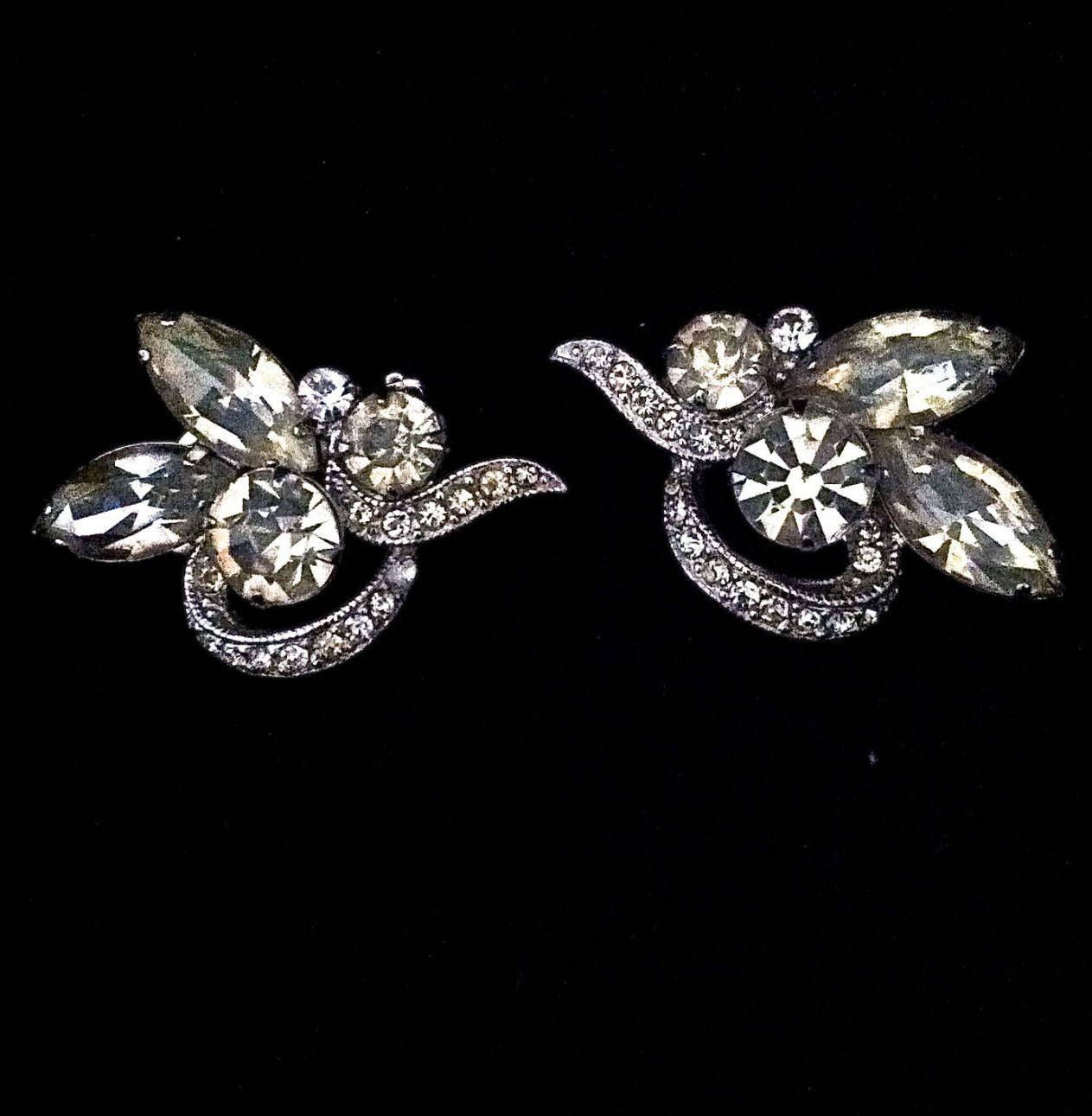 Vintage Rhinestone Earrings Eisenberg Ice Earrings Clip on Earrings