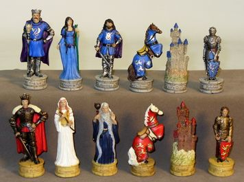 """3.25"""" King Arthur Chessmen are fabulous! Be gone those bland Staunton pieces and a nameless King! A true fantasy collector's dream set!"""