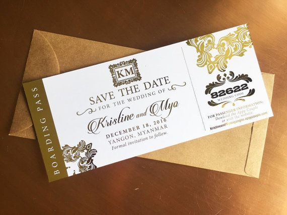 Custom for kristine kraft envelopes white paper and boarding pass boarding pass gatsby prohibition themed wedding save the date in foil stopboris Image collections