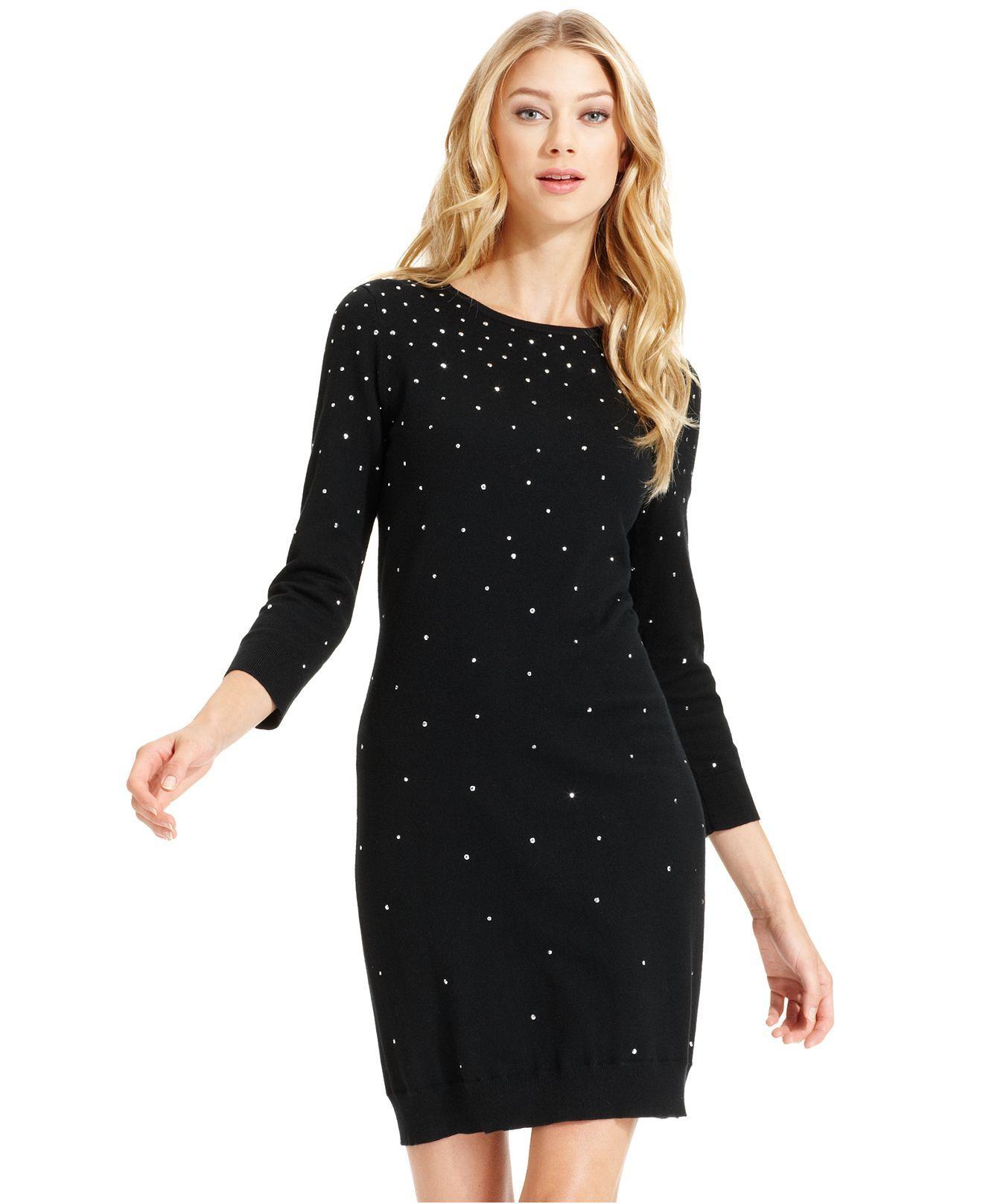 MICHAEL Michael Kors Dress, Three-Quarter-Sleeve Studded - Womens ...