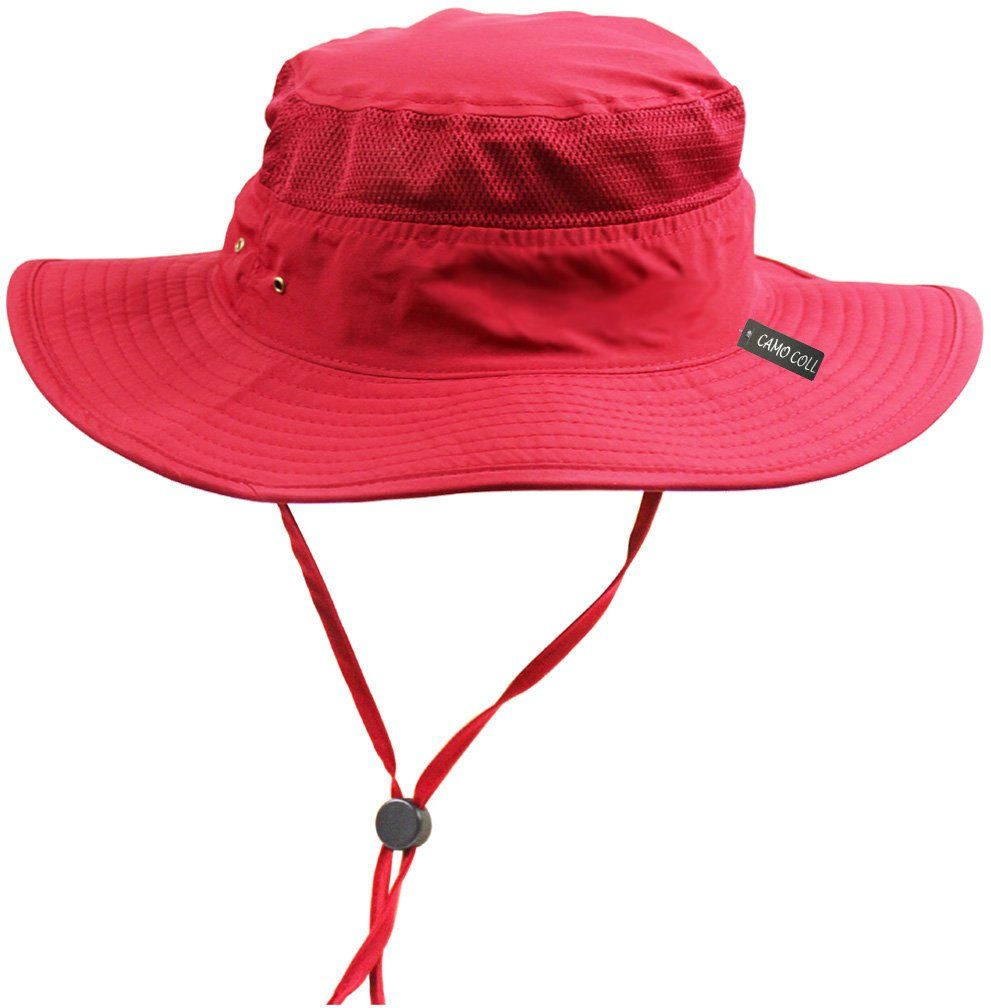 583b00d9 Camo Coll Outdoor UPF 50+ Boonie Hat Summer Sun Caps (One Size, Red ...