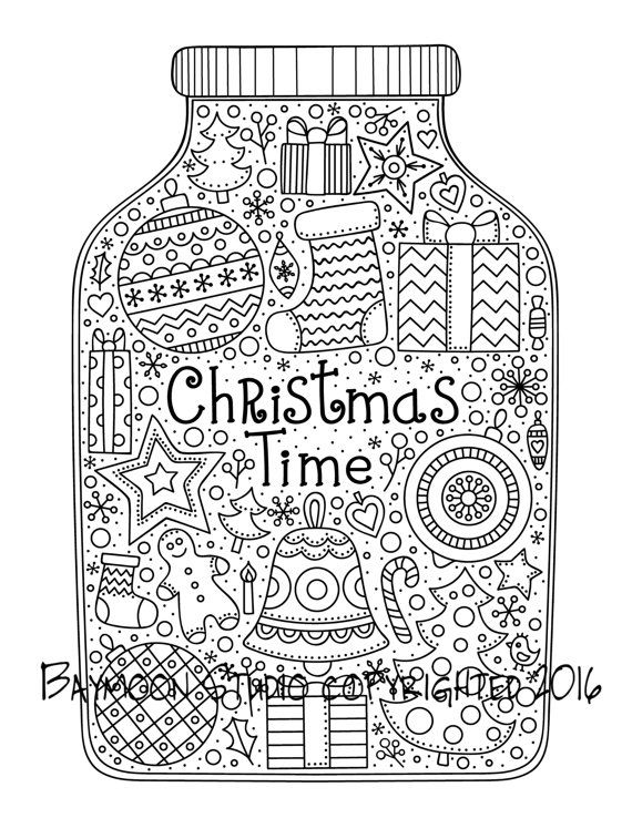Christmas Time Jar Coloring Page Printable Coloring Pages Adult Coloring Pages Digital Illustr Christmas Coloring Pages Christmas Jars Easter Coloring Pages