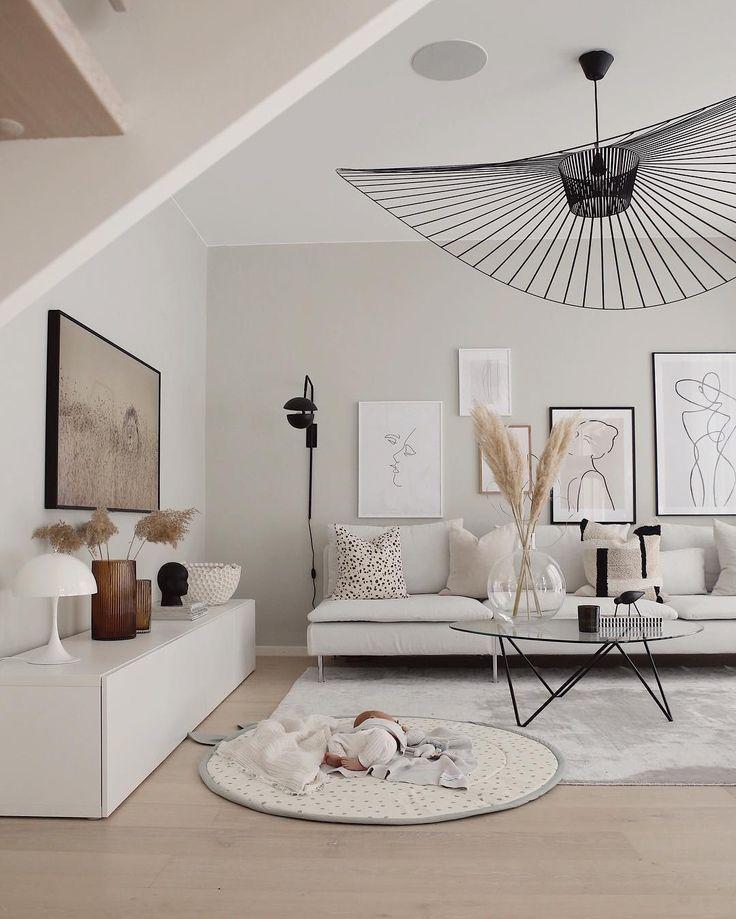 Modernes kunstvolles Wohnzimmer #Art #Wohnzimmer #Gallerywall