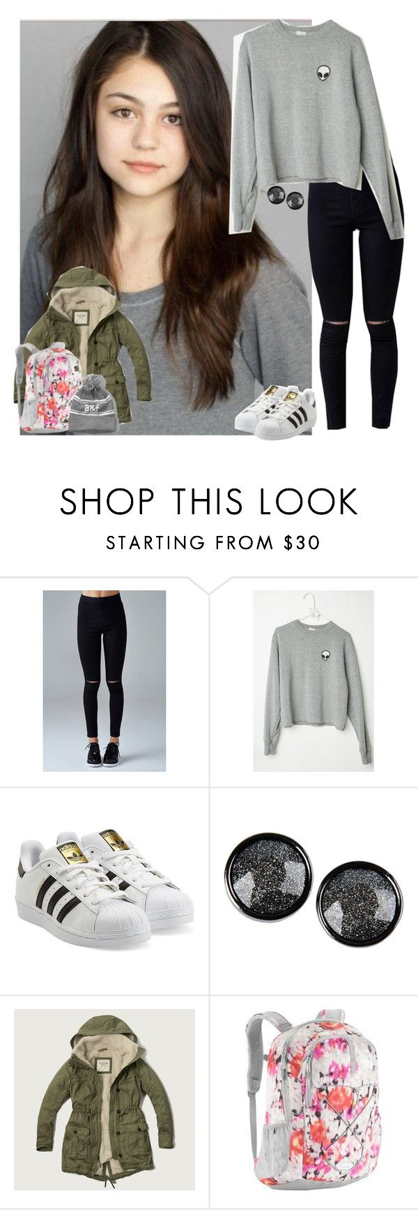 """""""Dream girls ootd: School"""" by meljordrum ❤ liked on Polyvore featuring Forever 21, adidas Originals, Marc by Marc Jacobs, Abercrombie & Fitch and The North Face"""