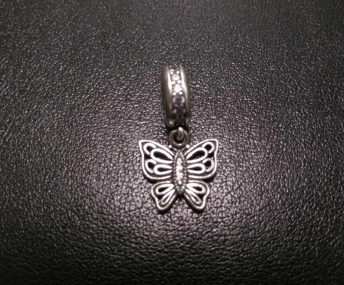 Sterling Silver CZ Butterfly Dangle Pendant Necklace