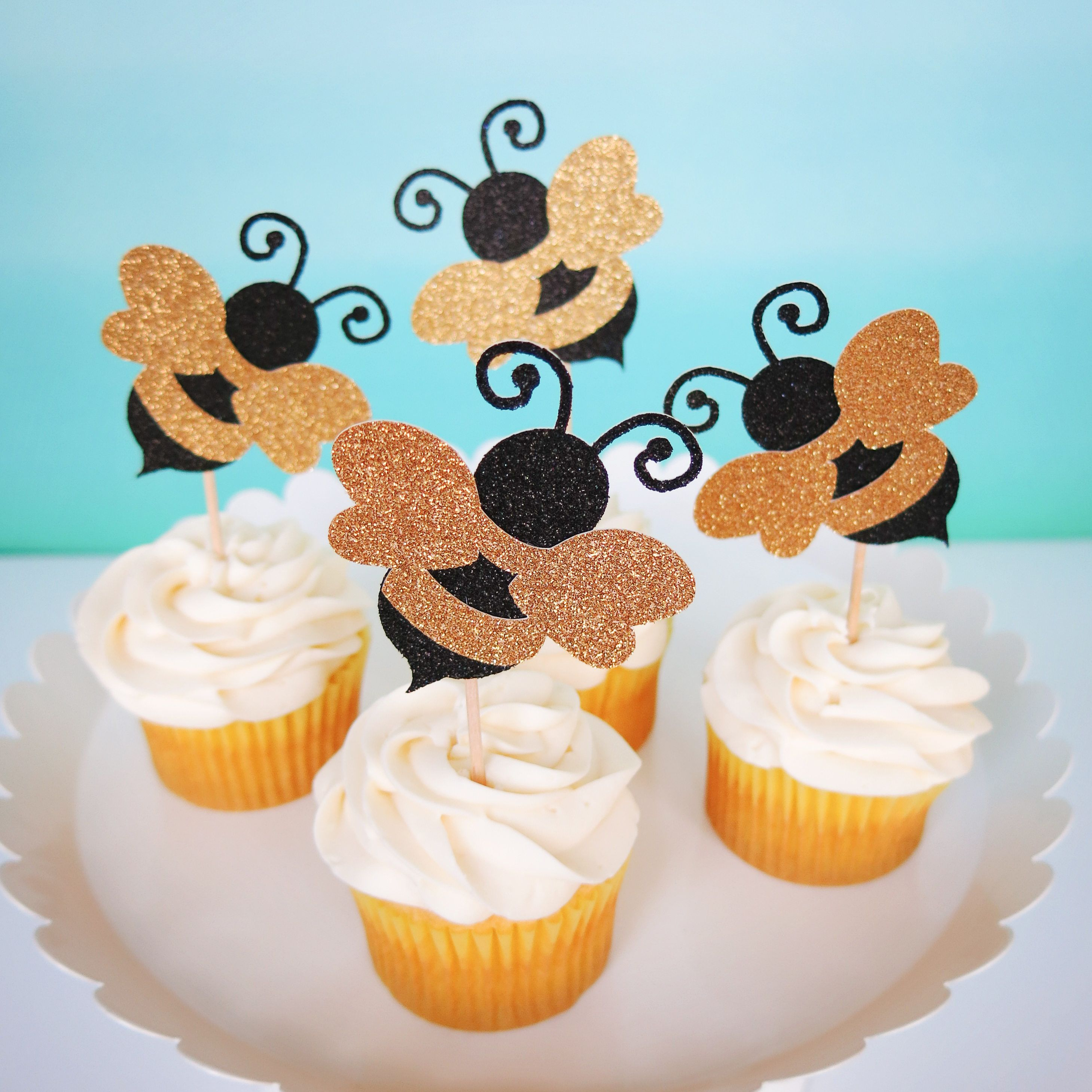 Bumble Bee First Birthday Cupcake Toppers Mommy To Baby Shower