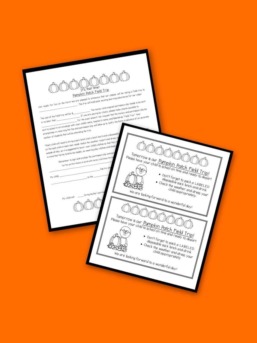 Pumpkin Patch Field Trip Letter And Parent Reminder Also Includes A Template For Classbook Pumpkinpattern Worksheet Textdependent Great