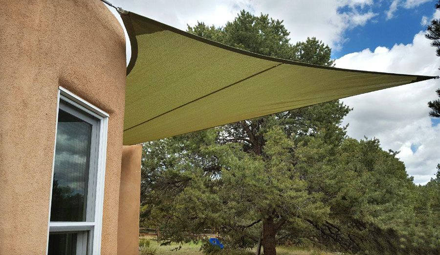 Shade Sail In Pale Green Wraps Around A Curved Wall Shade Sail Residential Awnings Outdoor Living Space