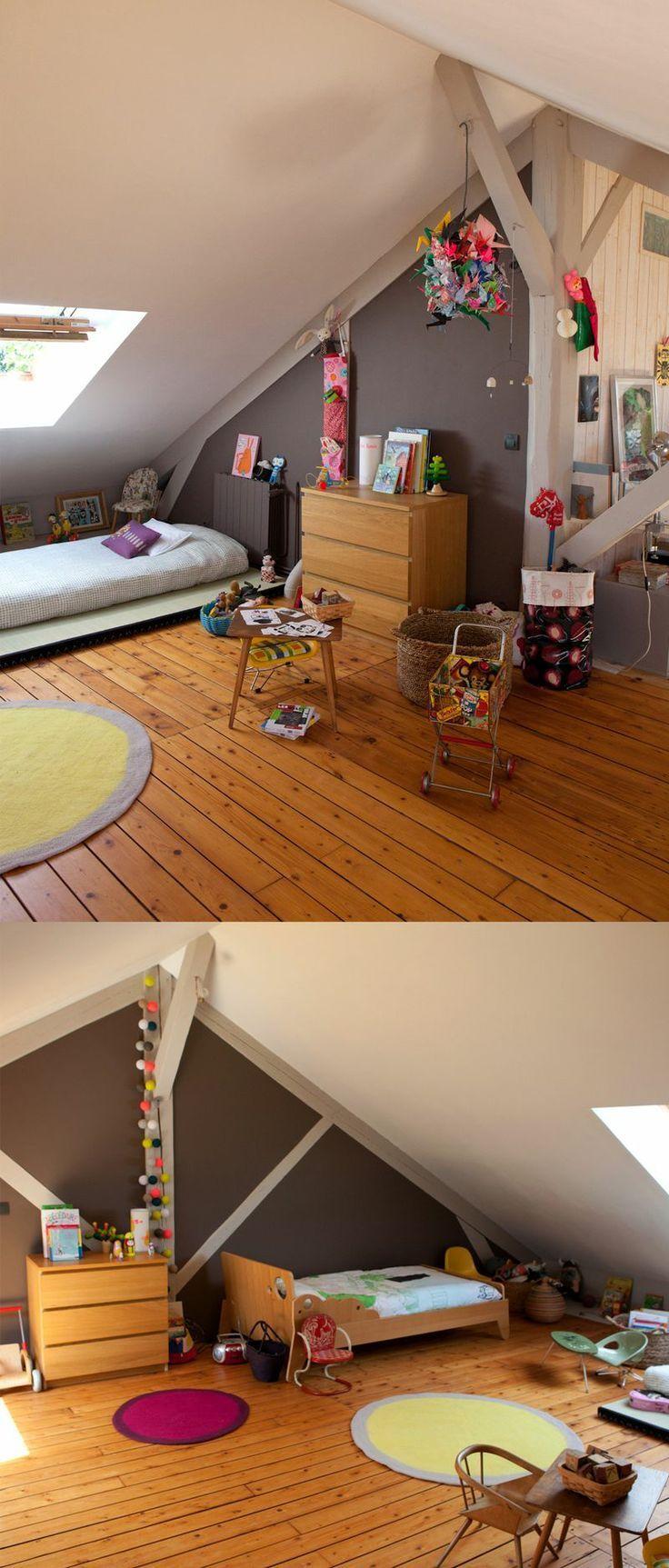 chambre mansardée  Deco chambre enfant, Chambre enfant, Déco