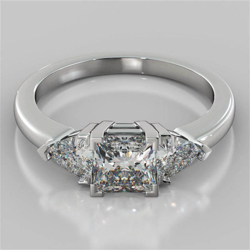 ad0924ae98841 Princess Cut Three-Stone Engagement Ring With Trillion Accents ...