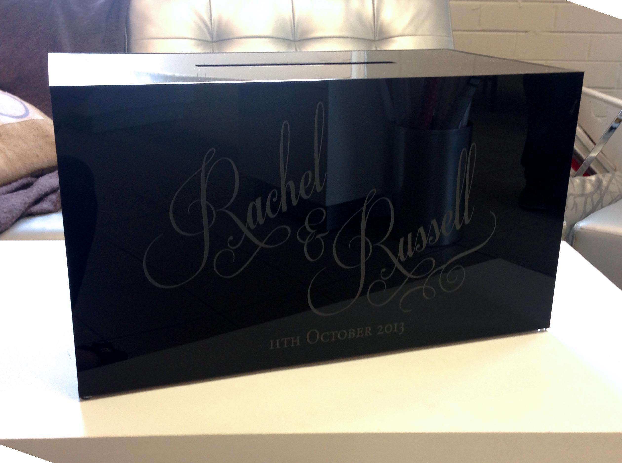 Black gloss acrylic Gift box for the wedding reception