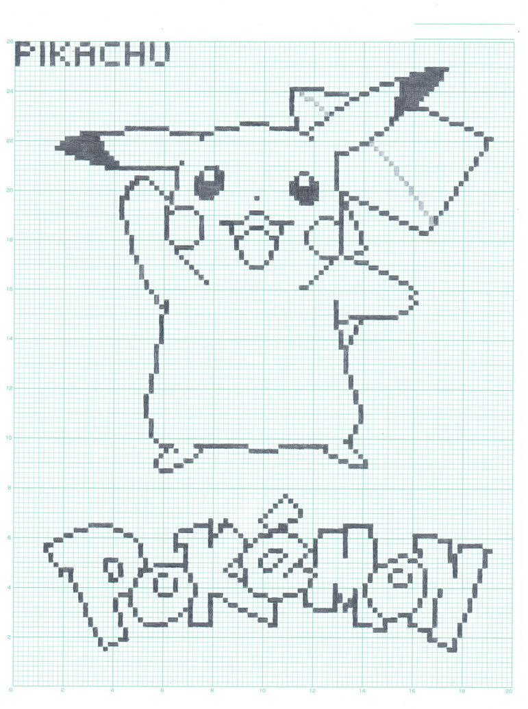 Graft Paper Art  Pikachu  Graph Paper Ver By Flamingsalad On