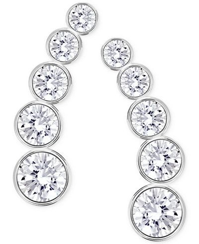 Enter Sparkling In These Fabulous Round Crystal Ear Climber Earrings Designed By Swarovski Silver Tone Or Rose Gold Mixed Metal