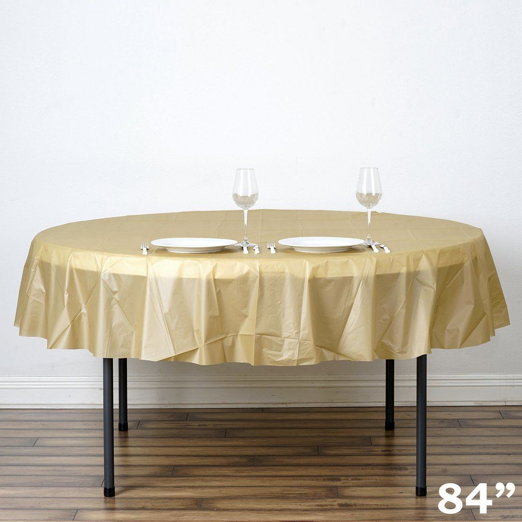 84 Gold 10 Mil Thick Crushed Design Waterproof Tablecloth Pvc Round Disposable Tablecloth Waterproof Tablecloth Table Cloth Plastic Tablecloth