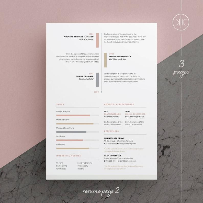 Ruby Resume/CV Template Word InDesign Etsy