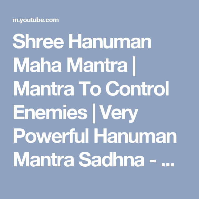 Shree Hanuman Maha Mantra | Mantra To Control Enemies | Very