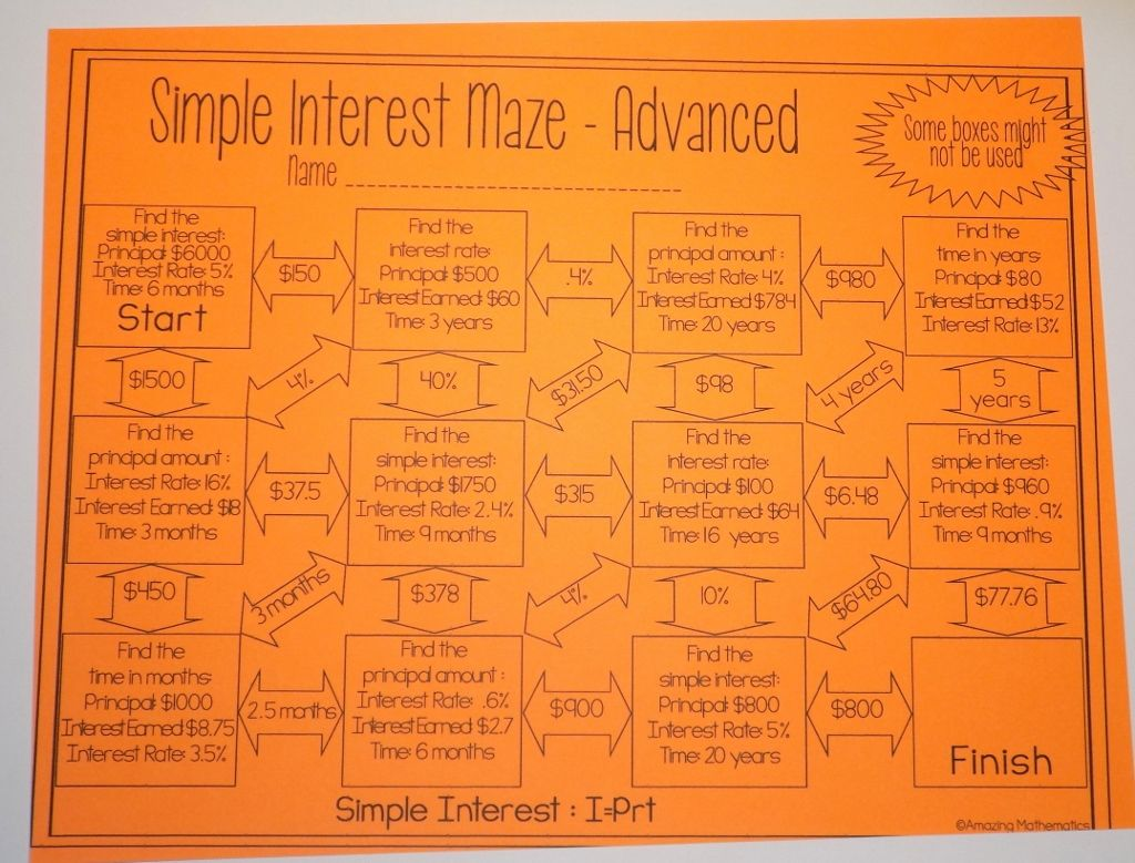 Workbooks simple interest worksheets for 8th grade : Simple Interest Maze ~ Advanced | Maze, Fun activities and Math
