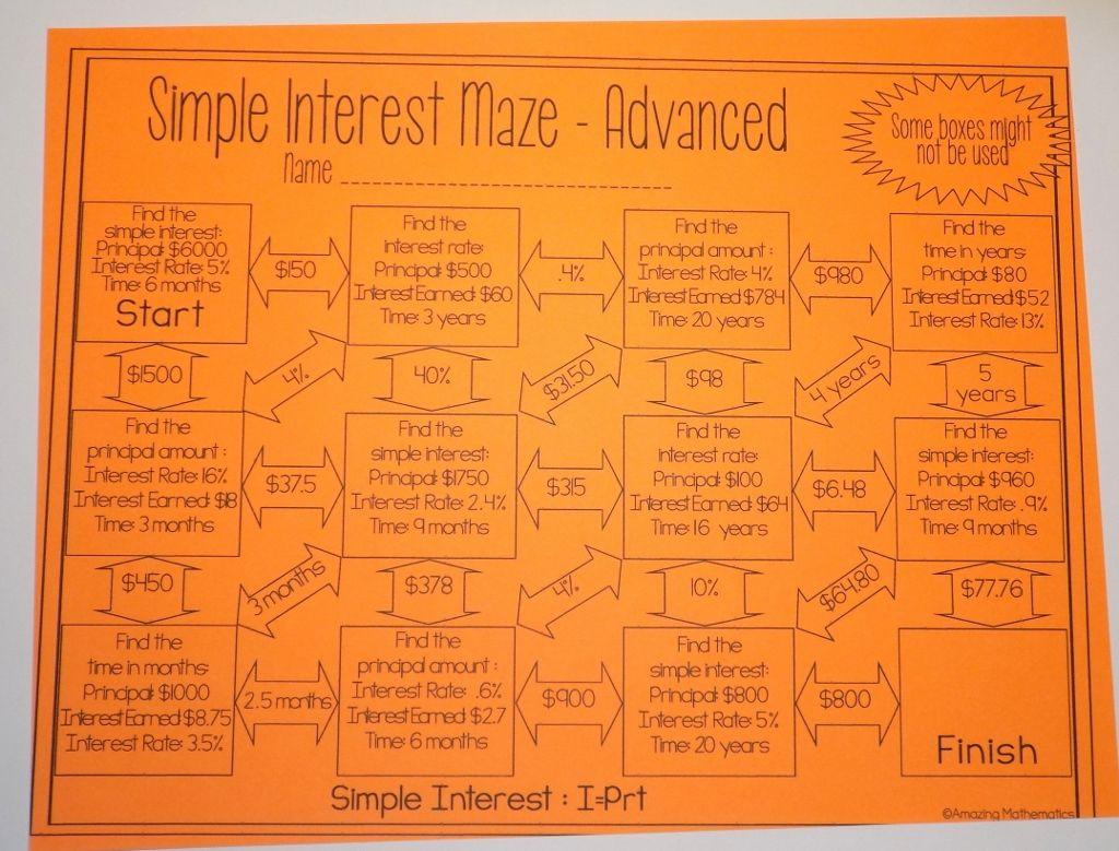 worksheet Compound Interest Practice Worksheet simple interest maze advanced fun activities and math advanced