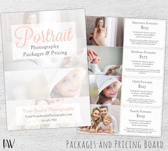Photography Pricing Guide Photoshop Template Marketing Price