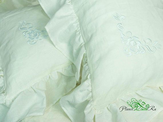 Best Price! Linen Pillowcases With Ruffles With Embroidery! Very Beautiful! Linen  Fabric Is The Best Fabric For Bed Linen. It Has Antibacterial And ...