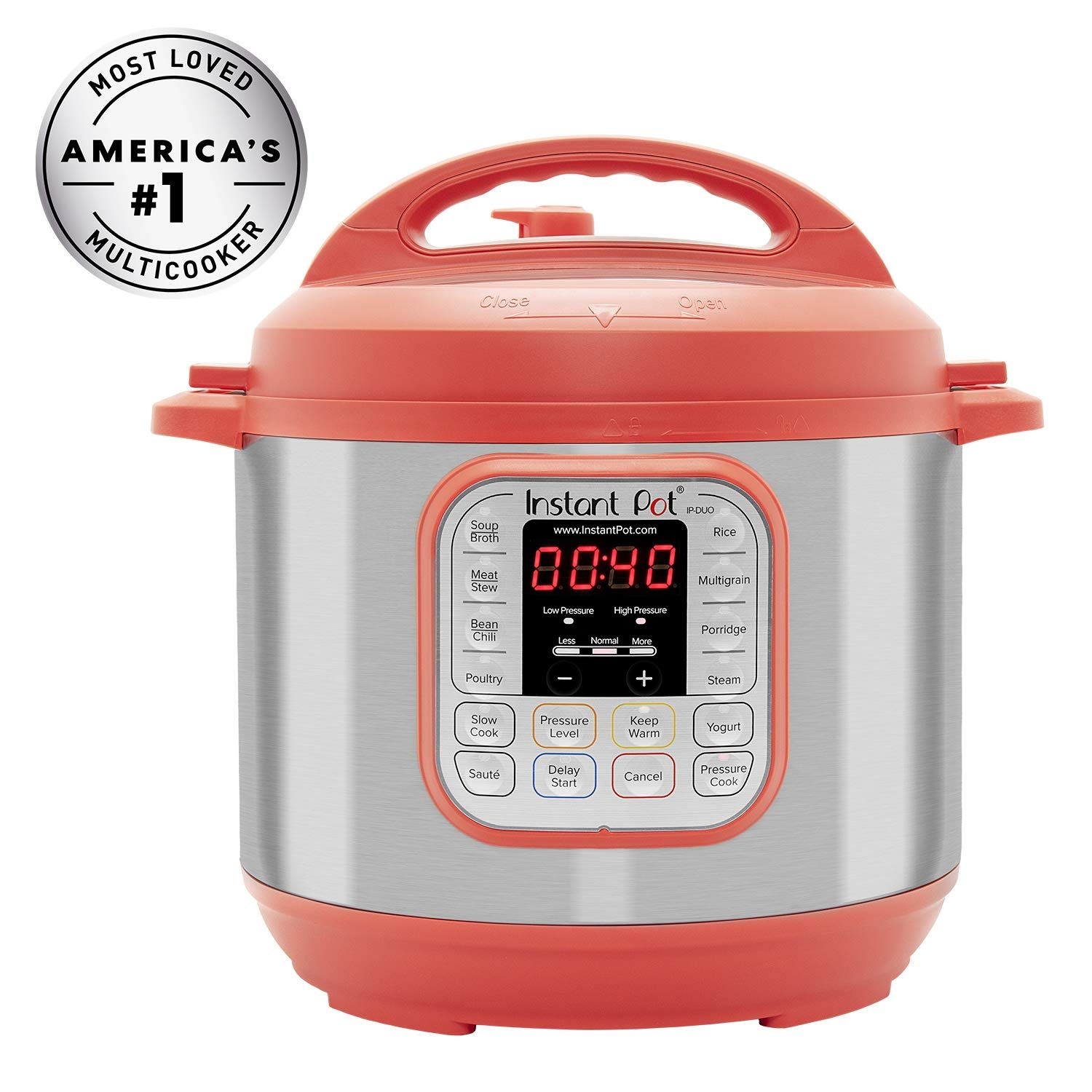Instant Pot IPDUO60RED Pressure Cooker, 6 quart, Red