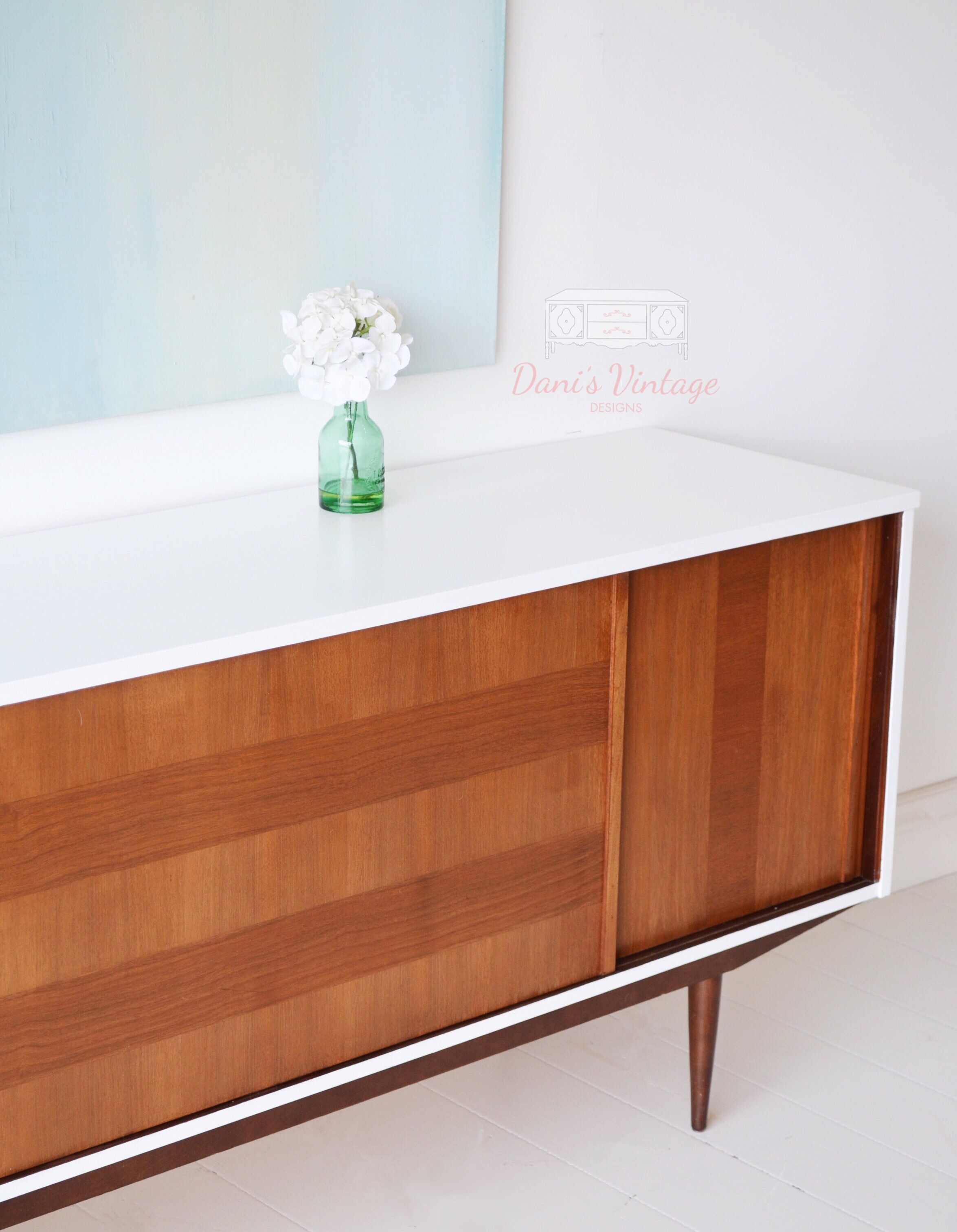 Painted White And Wood Dark Walnut Mcm Midcentury Modern Long Buffet Credenza Sideboard In 2020 Mid Century Modern Credenza Modern Credenza Midcentury Modern