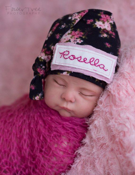 dfd109e11 Newborn Name Hat, Baby Shower Gift, Newborn Girl Hat, Floral Newborn ...