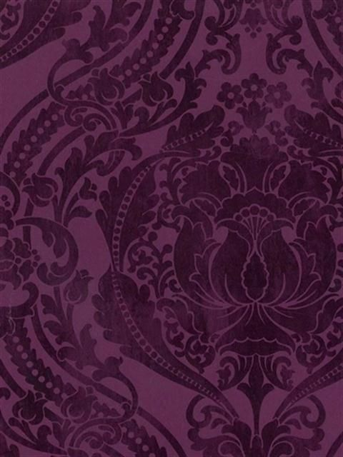 Floral Damask Sidewall - DS106720 from Damask, Stripe & Toile Library Book book by Sanitas - Blue Mountain.
