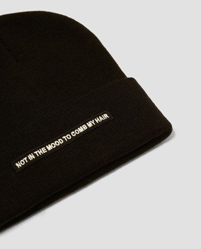 8de5a0ea956 Image 4 of BEANIE WITH FRONT SLOGAN from Zara