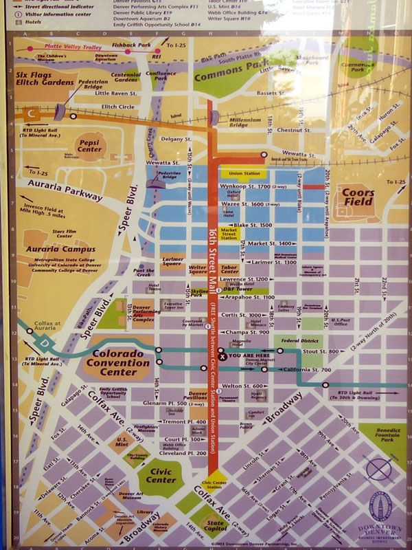16th Street Mall Map | colorado be callin | Street mall, Map, Denver