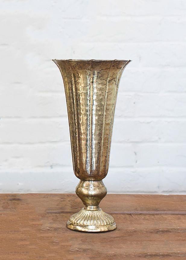 Lita Metal Fluted Vase in Distressed Gold - 14 | ENTER; Tablescape ...