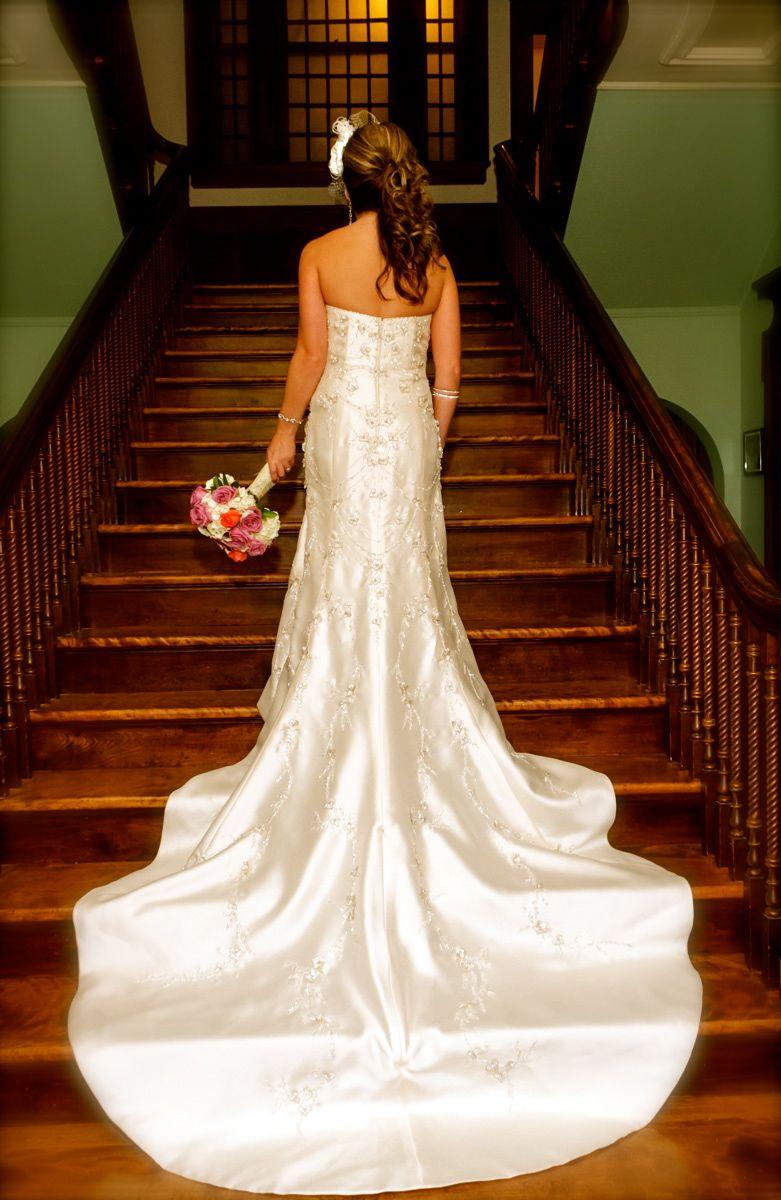Champagne Wedding Dress Off White Bird Cage