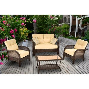 Mainstays Sienna 4 Piece Patio Conversation Set Walmart Com