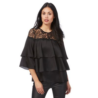 new york wholesale outlet affordable price Star by Julien Macdonald Black layered ruffle lace yoke top ...