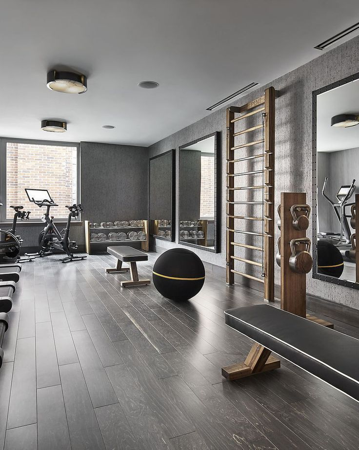 Luxury Fitness Home Gym Equipment and for Personal Studio. Dumbbells Wal Bar Exercise bench and kettlebells