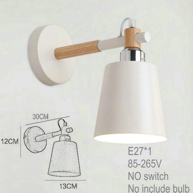 Moderne 32,28 Bois Métal Mur Lampe Vintage Industrielle Éclairage