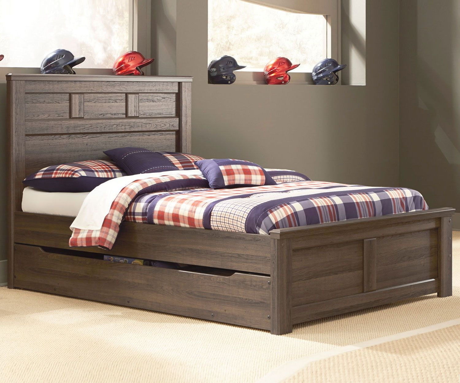 Juararo Full Size Panel Bed with Trundle | Pinterest | Full size ...
