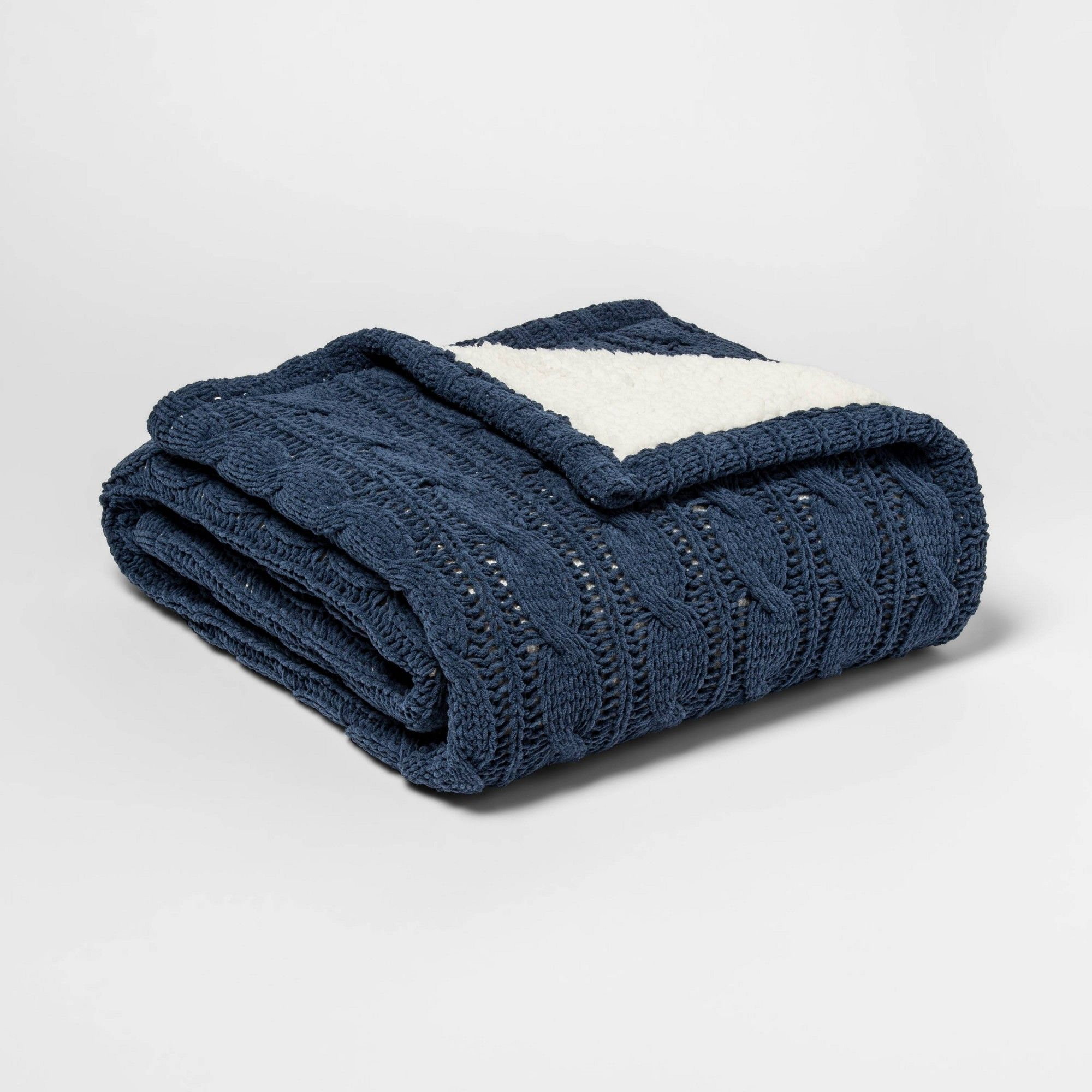 Threshold Cream//Gree 50 x 60 Printed Plush Reverse To Sherpa Throw Blanket