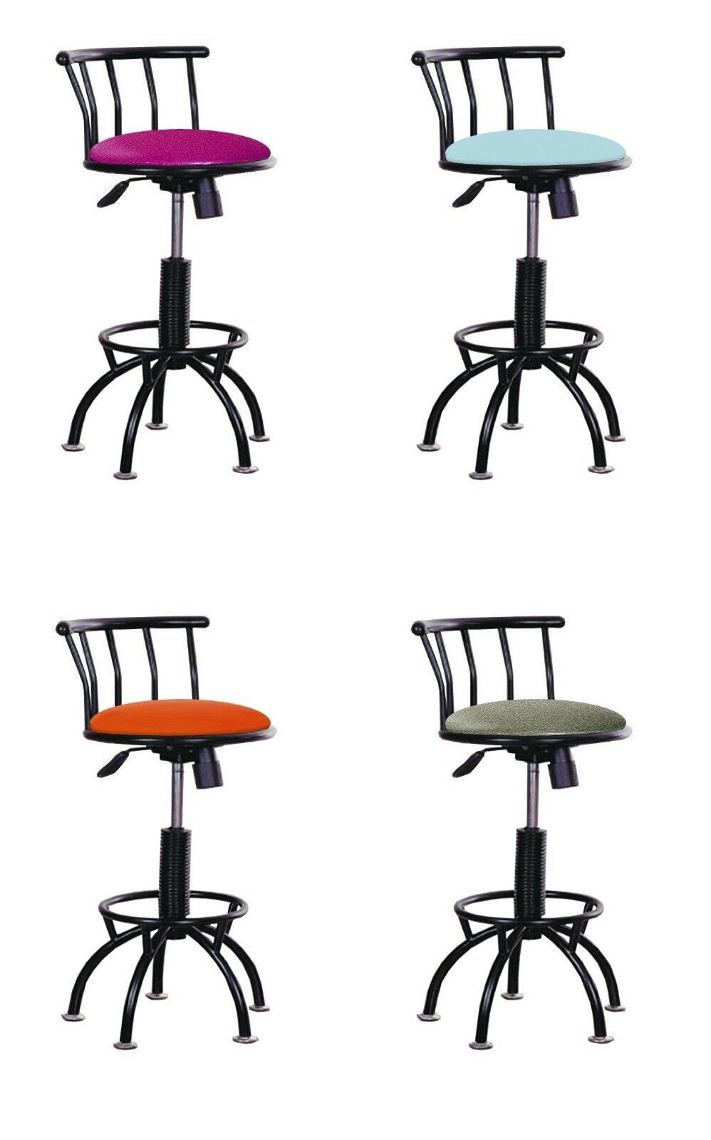 Bar Stool 24 29 Adjustable Black Metal Swivel Seat Kitchen Diner