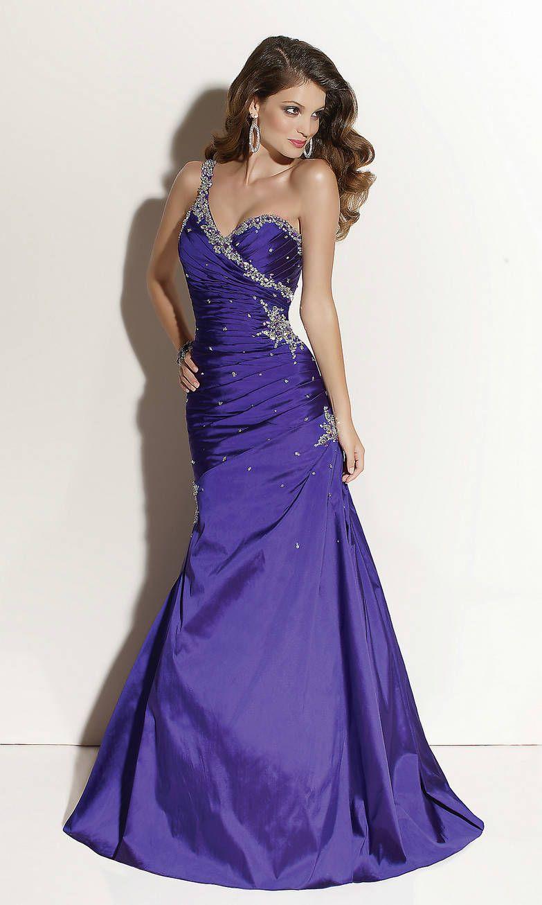 Sequin Embellished Ruched Long One Shoulder Sweetheart Purple Prom ...