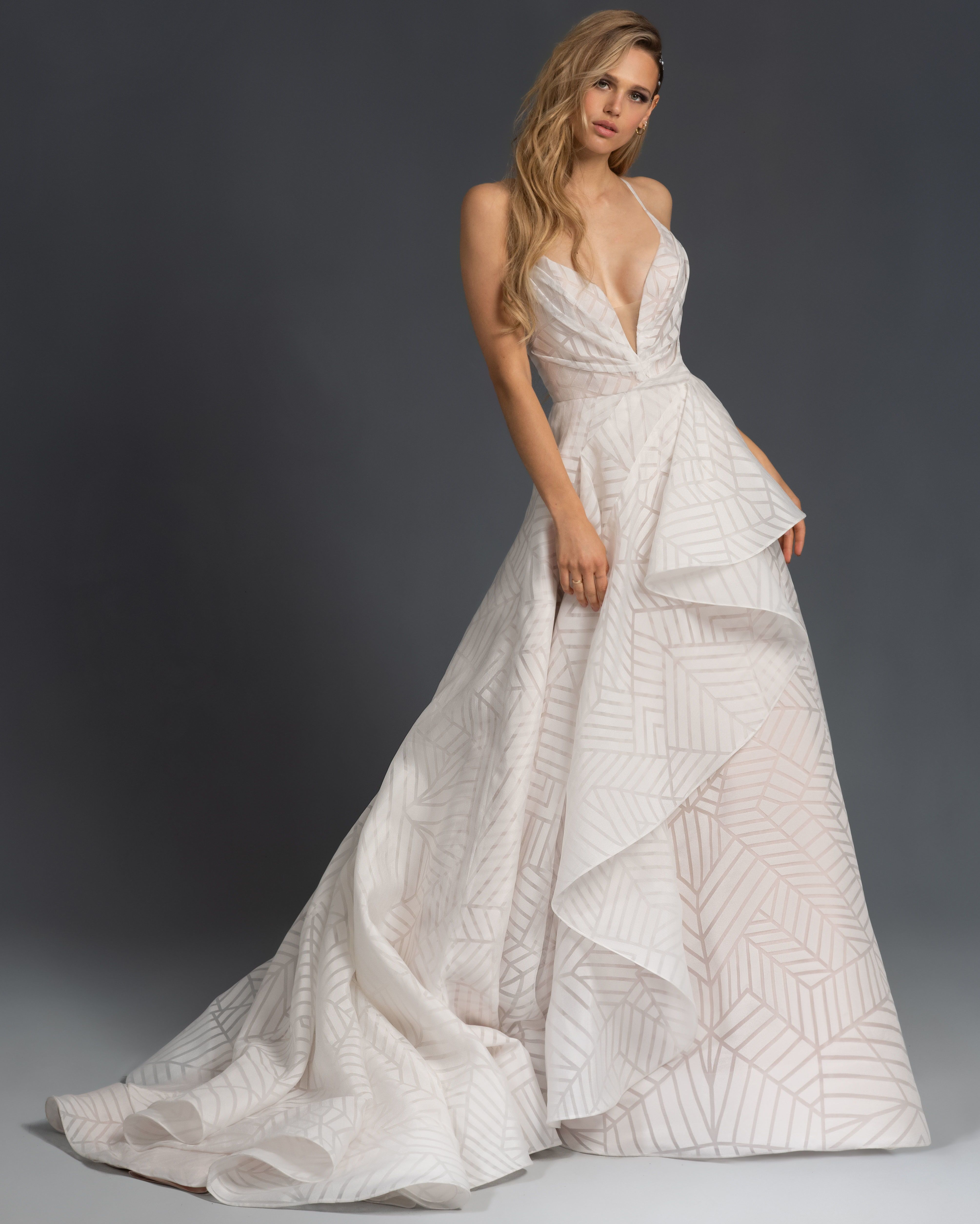 Hayley Paige Spring 2020 Charles A Line Wedding Dress With Draped Bodice Plunging Sw Unusual Wedding Dresses Hayley Paige Wedding Dress Bridal Fashion Week