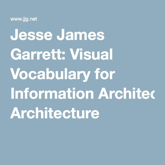 Jesse James Garrett: Visual Vocabulary for Information Architecture
