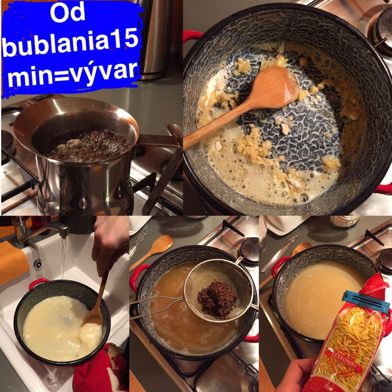 RASCOVÁ POLIEVKA: 15 min rascový vývar, vela masla a zmiešaj s múkou, potom 1 L vody studenej (pozor na hrudky), potom vylej do toho vývar, potom cestoviny od bublania. Ked sú pasta hotové, tak je to done :)
