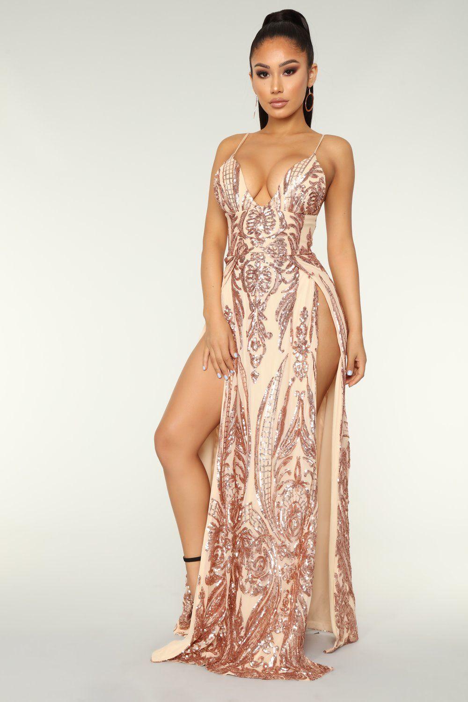 88fe4cc0 Fame Excess Sequin Dress - Rosegold | Fashion Nova Clothing | Sequin ...