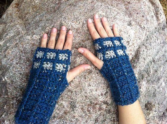 Crochet Fingerless TARDIS Gloves pattern by Carrissa Knox