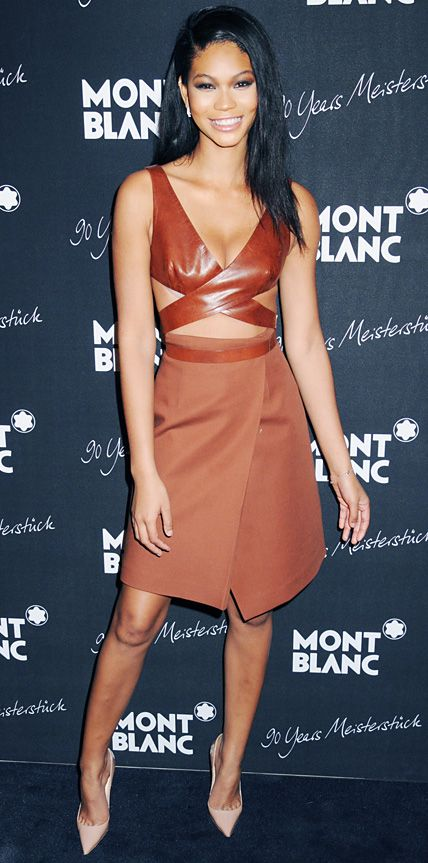 3d0e2ebb334 Chanel Iman in an outfit only a supermodel could pull off  leather wrap  top