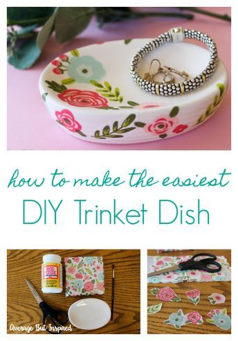 The Easiest DIY Trinket Dish Ever - Craft night projects, Girls night crafts, Inexpensive crafts, Quick crafts, Trinket dishes, Mops crafts - This has to be the easiest DIY trinket dish ever! With a few simple and inexpensive supplies, you can make an adorable trinket dish to store your jewelry and other treasures  A perfect ladies' craft night project or quick weekend craft  this is a project everyone can do!