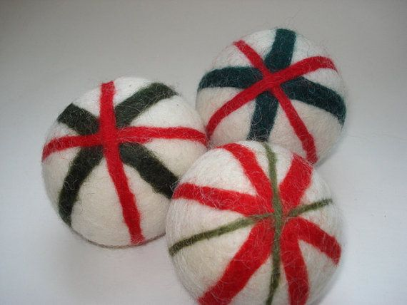 Felted Wool balls  Christmas / peppermint candy by NutmegNaturalsCT