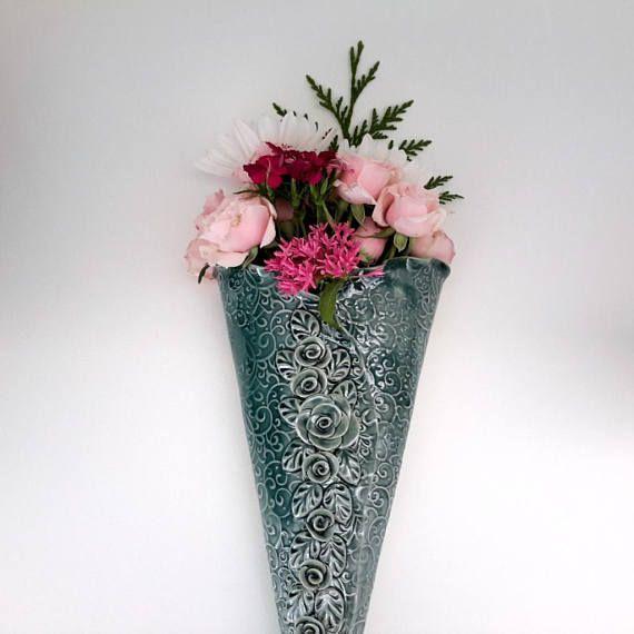 Teal Green Wall Pocket Wall Vase Handmade Ceramic Wall Pocket